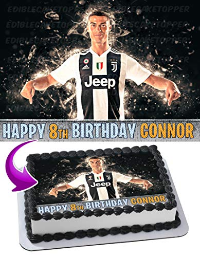 Cristiano Ronaldo CR7 Juventus Cake Topper Edible Image Personalized Birthday 1/4 Sheet Custom Sheet Party Birthday Sugar Frosting Transfer Fondant Image ~ Best Quality Edible Image for -