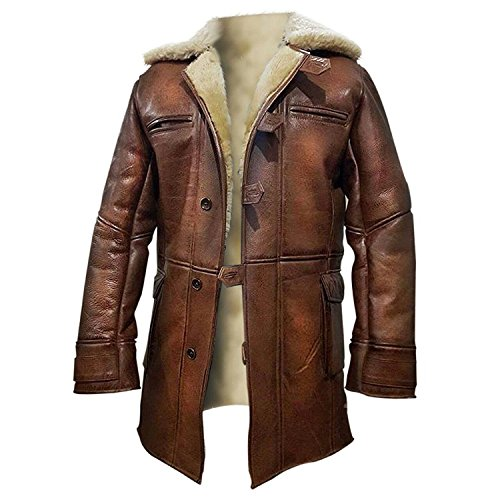 - Tom Hardy Bane Dark Knight Lambskin Shearling Genuine Leather Pea Coat (X-Large, 100% Hi-Quality Synthetic Leather with Off-White Fur Lining)