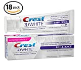 Crest Toothpaste 3D White Brilliance: Vibrant Peppermint Toothpaste 4.1 oz (18-Pack (4.1oz Each Tube), 3D White Brilliance: Vibrant Peppermint)