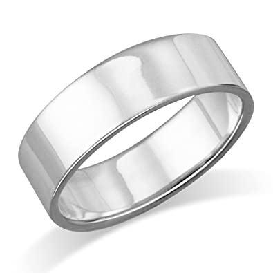 af94c9e879ba1 MIMI 6MM Sterling Silver Plain Flat Wedding Band Ring Size 5, 6, 7, 8, 9,  10, 11, 12