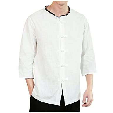 Vectry Hombres Vintage Casual Color Puro Algodón Lino Camisas De ...