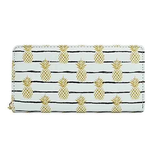 Badiya Pineapple Print Designer Zipper Wallet Clutch Purse Credit Card Holder by Badiya