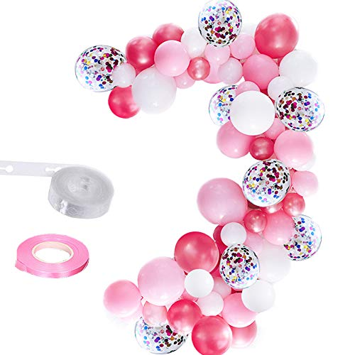 Elepplrty 16ft Pink Balloon Garland Kit 100 Pack, Light Pink Rose Red White Latex Balloons and 12inch Confetti Balloon for Barbie Party Supplies,Baby Shower (Hello Kitty Balloons Baby)