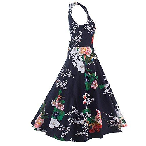 JOTHIN 1950s Damen Druck Ballkleid Ärmellose Rockabilly Kleid Frauen ...
