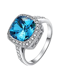 Yoursfs CZ Sapphire Ring for Women Simulated Blue Sapphire & Cubic Zirconia Ring Gift to Lover