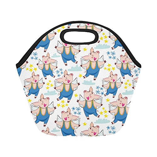 Floral Pig (InterestPrint Cute Flying Pigs Wings Reusable Insulated Neoprene Lunch Tote Bag Cooler 11.93