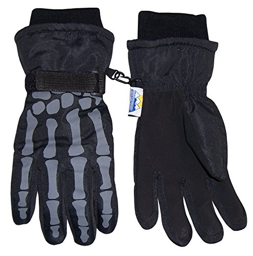 NIce Caps Boys Skeleton Print Waterproof Thinsulate Winter Snow Glove
