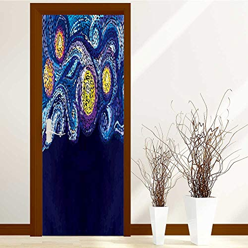 (SCOCICI1588 Stylish Waterproof Door Stickers vector pattern night sky with stars dots and points van gogh for Living Room Decorations W38.5 x H77 INCH)
