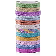 12 Colors Skinny Glitter Paper Washi Tape Set Of 24
