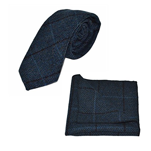 Luxury Aegean Blue Herringbone Check Necktie & Pocket Square Set, (Luxury Herringbone Necktie)
