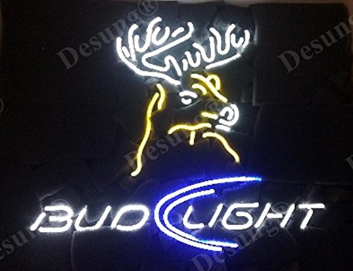 "Desung 19""x15"" Bud-Light Deer Elk Milu Moose Head Neon Sign Light Lamp (VariousSizes) Beer Bar Pub Man Cave Handicraft DC38"