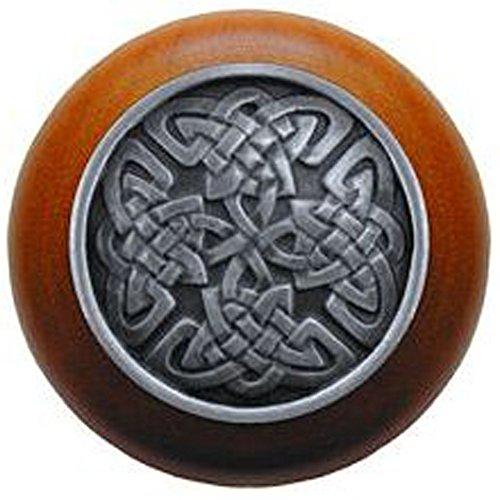 Notting Hill Decorative Hardware Celtic Isles Wood Knob, Antique Pewter, Cherry wood finish