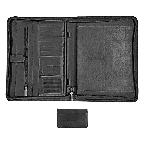 CARMEL CONCEPT Professional Padfolio with Bonus Business Card Holder, PU Leather Portfolio Folder with Zippered Closure, Resumes Interview Notebook Document Storage, Writing Pad & Tablet Sleeve, Black