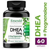 DHEA 50mg w/25mg Pregnenolone - Helps Balance Hormone Levels for Men/Women, Cognitive Function Support, Increase Metabolism, Lean Body Mass - Emerald Laboratories (Ultra Botanicals) - 60 Capsules