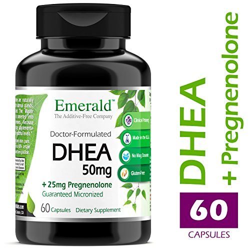 DHEA 50mg w/ 25mg Pregnenolone - Helps Balance Hormone Levels for Men/Women, Cognitive Function Support, Increase Metabolism, & Lean Body Mass - Emerald Laboratories (Ultra Botanicals) - 60 Capsules Herbal Hormone Replacement Therapy