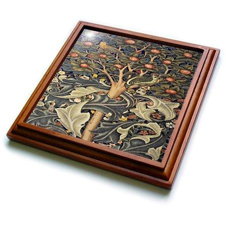 (3dRose trv_243622_1 Image of William Morris Woodpecker In Gray Orange & Ivory Trivet with Ceramic Tile, 8 x 8