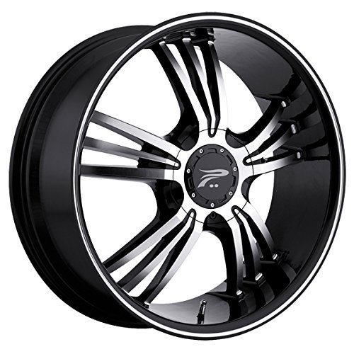 Platinum 122B Wolverine Gloss Black/Diamond Cut/Clear-Coat/Machine Lip Strip Wheel (17x7.5/5x100, 42mm Offset) -