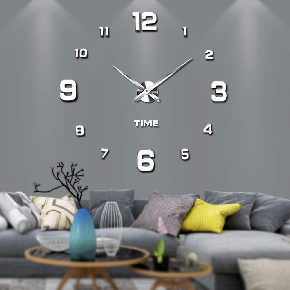 VANGOLD Reloj silencioso 3D adhesivo efecto cristal para pared, sin marco, tamaño grande, para decorar la oficina o casa,Plateado-2 años de garantía