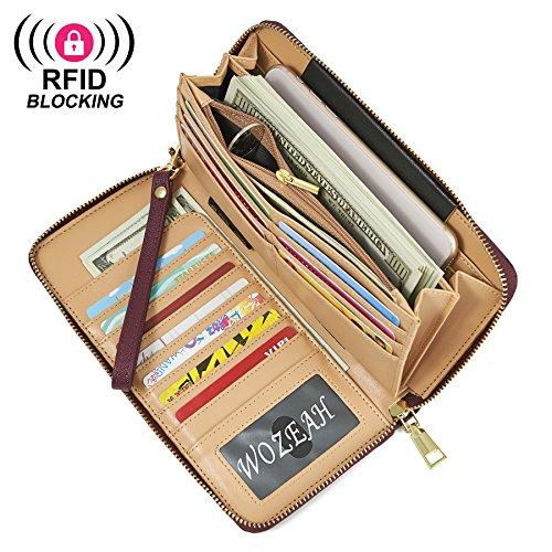 WOZEAH Women's RFID Blocking PU Leather Zip Around Wallet Clutch Large Travel Purse (wine red) by WOZEAH