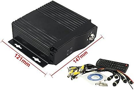 Móvil DVR 4 Canales Grabador de vídeo 12 V 24 V para Coche, camión, Caravana, Caja Negra vigilancia con Llave