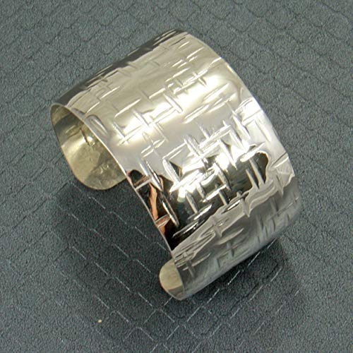 Handmade Cross Hammered Sterling Silver Cuff Bracelet