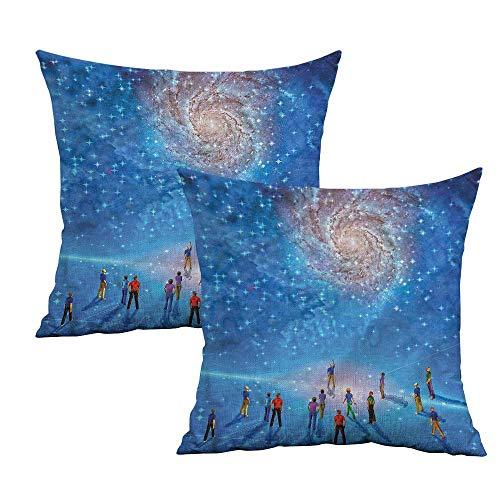 Khaki home Constellation Square Pillowcase Covers Cosmic Phenomena Square Zippered Pillowcase Cushion Cases Pillowcases for Sofa Bedroom Car W 16