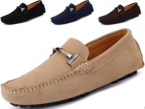 Go Tour New Mens Casual Loafers Moccasins Slip On Driving Shoes Beige 14/50