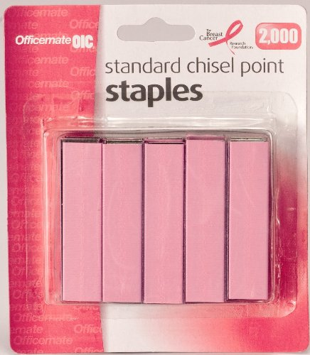 - Officemate Breast Cancer Awareness Standard Staples, 105 per  Strip, Pack of 2000, Pink (08923)