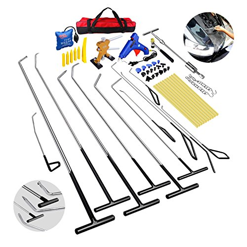 Super PDR Professional PDR Rods 54pcs Auto Car Body Paintless Dent Repair Hail Damage Removal Tools Dent Puller Tap Down Air Wedge Kits