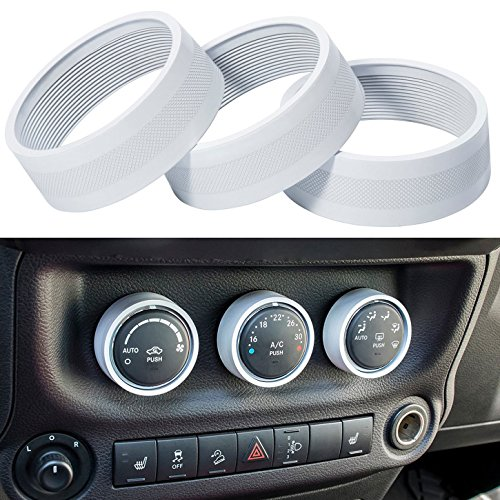 - E-cowlboy Interior Audio Air Conditioning Button Cover Decoration Twist Switch Ring Trim for Jeep Wrangler JK JKU Compass Patriot 2011 2012 2013 2014 2015 2016 3PC/Set (White)