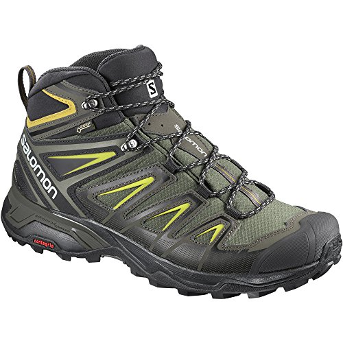 Backpacking Boot Mid Gtx (Salomon Men's X Ultra 3 Mid GTX Boots Castor Gray/Black/Green Sulphur 14)