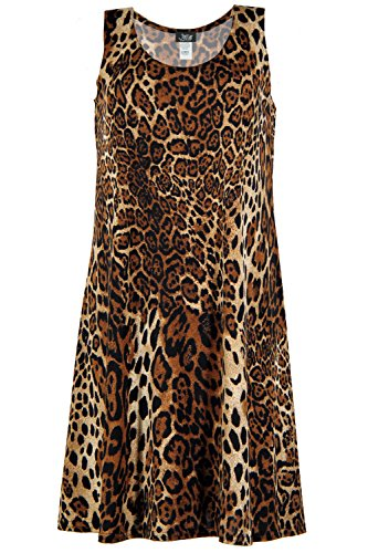 Jostar Women's Stretchy Missy Tank Dress Print Plus 2XL Brown Animal - Animal Print Tank Dress