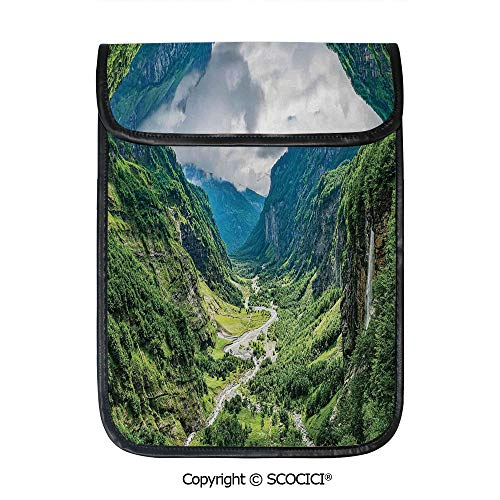 SCOCICI Protective Storage Carrying Sleeve Case - Valley Mountain Tree Mist Waterfall Canyon Alpine Landscape Nature Theme Compatible with 12.9 Inch iPad Pro Tablet