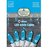 icicle lights blue - Kringle Bros BLUE - M6 Diamond Cut LED Icicle Christmas Lights - 150 Lights - 9.5 ft long