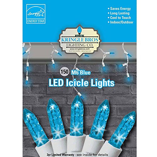 Blue Lights Icicle White Wire (Maxx Flex Kringle Bros Blue - M6 Diamond Cut LED Icicle Christmas Lights - 150 Lights - 9.5 ft Long)