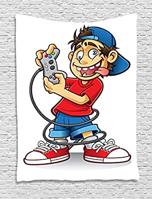 amazon com lunarable gamer tapestry cartoon character with backwards hat and crazy eyes playing videogames funny doodle wall hanging for bedroom living room dorm decor 60 x 80 grey red home kitchen lunarable gamer tapestry cartoon character with backwards hat and crazy eyes playing videogames funny doodle wall hanging for bedroom living room