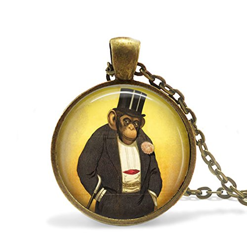 Sale Today ONLY Monkey Necklace Steampunk Circus Monkey Jewelry, Monkey with Suit and hat Necklace, Vintage Style Monkey Pendant, Vintage Ci -