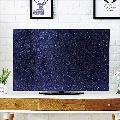 iPrint LCD TV Cover Multi Style,Dark Blue,Night Sky with Stars Milky Way Cosmos Galaxy Infinite Universe Celestial,Indigo Dark Blue,Customizable Design Compatible 50