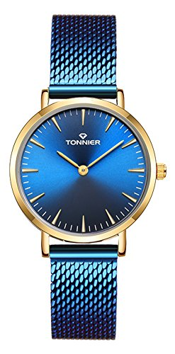Tonnier Slim Stainless Steel Mesh Strap Quartz Mesh Watch for Women Gold&Royal ()