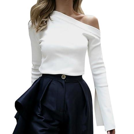 Camisetas para hombros de manga larga Fuera del hombro blusa sin mangas Solid Pure Shirt Blouse