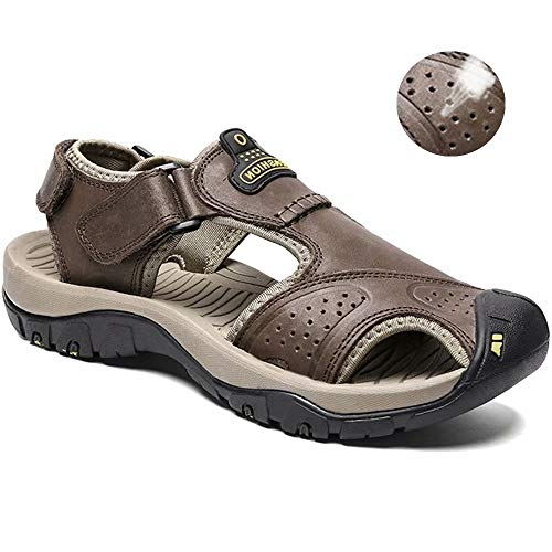 visionreast Mens Leather Sandals Outdoor Hiking Sandals Waterproof Athletic Sports Sandals Fisherman Beach Shoes Closed Toe Water Sandals (Sandal Closed Fisherman Toe)