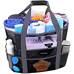 Mesh Beach Bags and Totes, AOMAIS MAX Capacity 30L/150lbs Durable Toy Tote Bag with Removable Strap& 8 Extra Pockets& Inside Pocket for Beach, Picnic (Black)