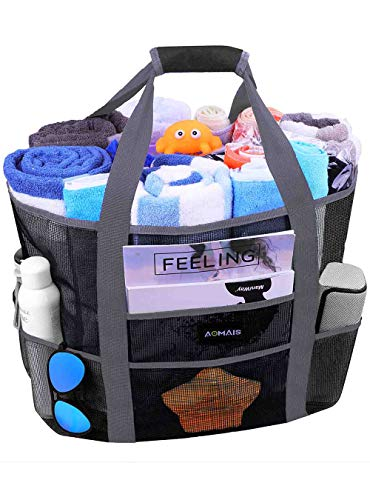 Mesh Beach Bags and Totes, AOMAIS MAX Capacity 30L/150lbs Durable Toy Tote Bag with Removable Strap& 8 Extra Pockets& Inside Pocket for Beach, Picnic (Black)              ()