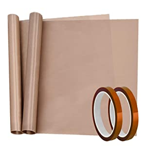 Selizo 4 Pack Heat Tape High Temp Tape and Teflon Sheet for Vinyl Heat Press, Sublimation Heat Resistant