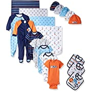 Gerber Baby Boys 19 Piece Essentials Gift Set, Lil Athlete, 0-3M: Onesies/Sleep 'n Play, 0-6M: Cap, One Size: Bib/Blanket