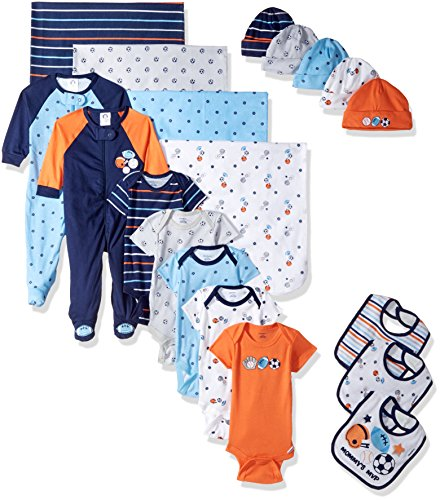 (Gerber Baby Boys' 19-Piece Essentials Gift Set, Little Athlete, Newborn)