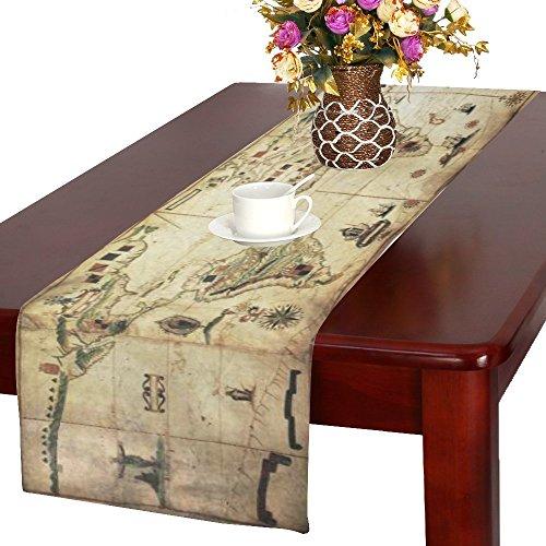 InterestPrint Antique World Map Cotton Table Runner Placemat