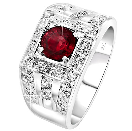 - Men's Elegant Sterling Silver .925 High Polish Ring Featuring a Synthetic Red Ruby Center Stone Surrounded by 26 Fancy Round Prong-Set Cubic Zirconia (CZ) Stones