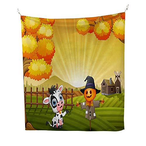 25 Home Decor Tapestries Cartoon Cow with Halloween Scarecrow in The Farm Background Third Eye Tapestries 40W x 60L INCH