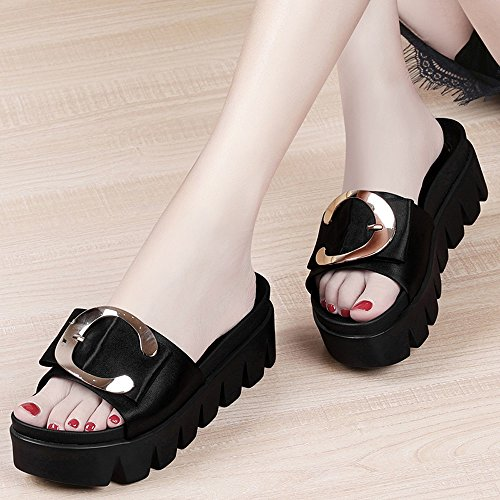 Negro Outdoor De Fashion Muffins Gruesa Summer Alto Tacón Sandalias Suela Señora Korean Zapatillas 1Xxq7fZf